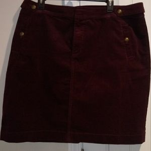 Talbots maroon corduroy knee length skirt